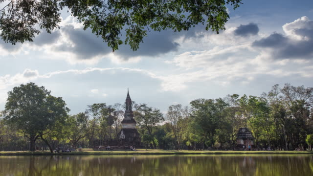 4k timelapse dolly shot, Wat Traphang-Ngoen Temple in sukhothai historical park in Thailand.