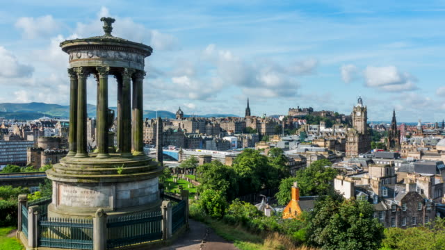 4k time-lapse: edinburgh cityscape in a morning, scotland uk - edinburgh scotland stock videos & royalty-free footage