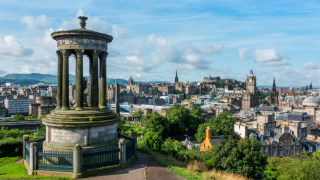 4k time-lapse: edinburgh cityscape in a morning, scotland uk - scotland stock videos & royalty-free footage