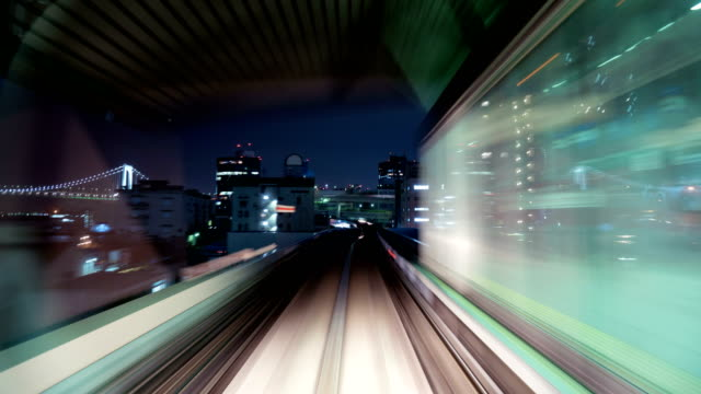 4k time-lapse Japan Railway train moving in tunnel