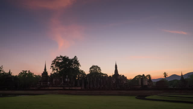 4k timelapse lockdown,Wat Mahathat Temple in sukhothai historical park in Thailand.