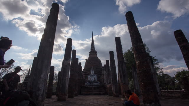 4k timelapse lockdown,Wat Sa-si Temple in sukhothai historical park in Thailand.