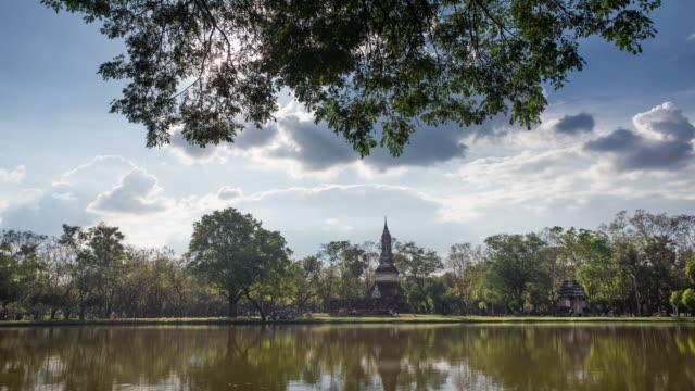 4k timelapse lockdown,Wat Traphang-Ngoen Temple in sukhothai historical park in Thailand.