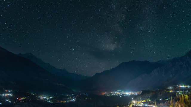 4k Time-lapse milky way above the Hunza valley , Pakistan