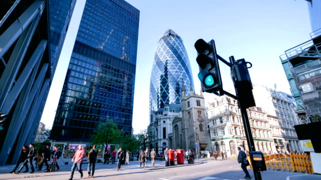 4k time-lapse Movement of business people in office building zone, London, England