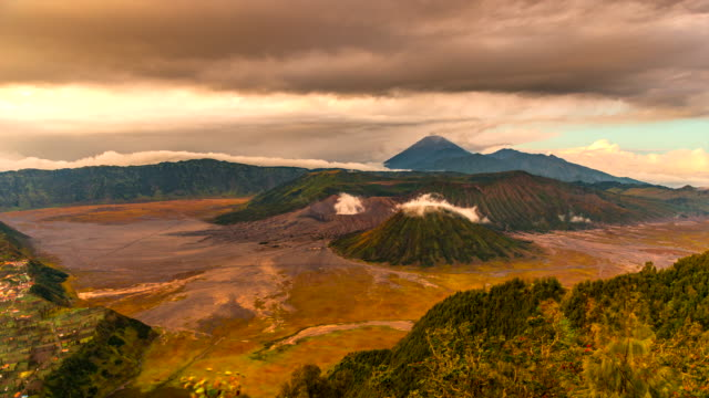 4k timelapse movie moving cloud cover volcano mts. bromo, semeru, batok and widodaren, tengger caldera, indonesia - tengger stock videos & royalty-free footage