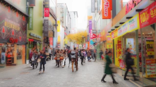 4k Time-lapse Myeongdong shopping street seoul,South korea