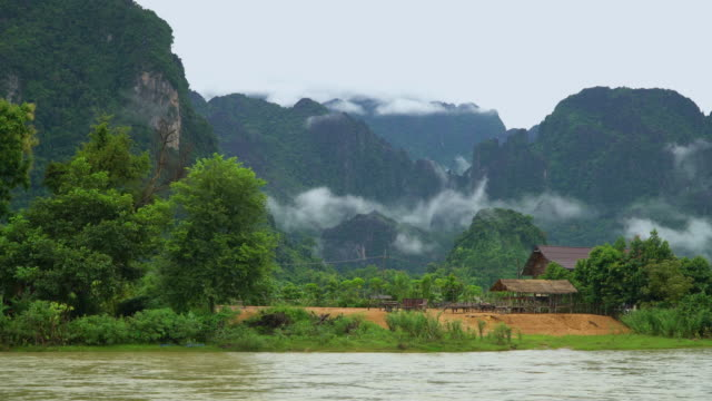 4k Timelapse, Nam Song river and cloudy in Vang Vieng, Laos.
