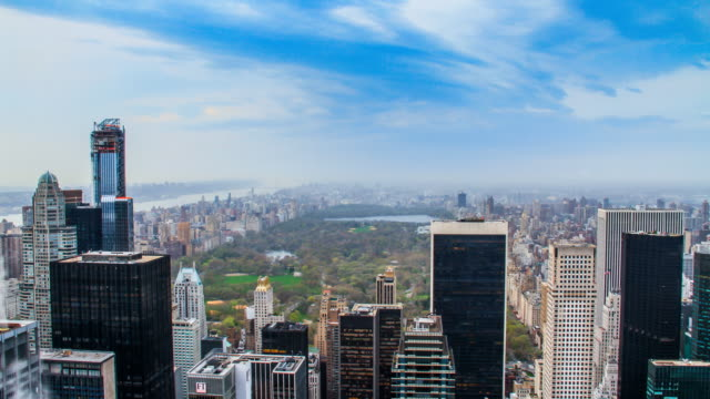 4k timelapse of Central Park with the New York skyline, from a high point of view