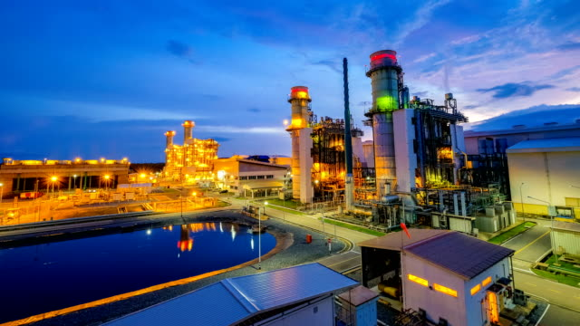 4k timelapse of combined cycle powerplant or fuel gas powerplant