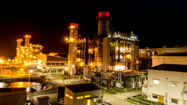 4k timelapse of combined cycle powerplant or fuel gas powerplant - power line stock videos & royalty-free footage