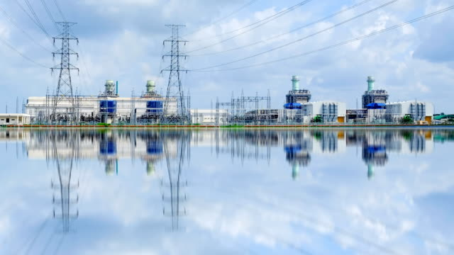 4k timelapse of combined cycle powerplant