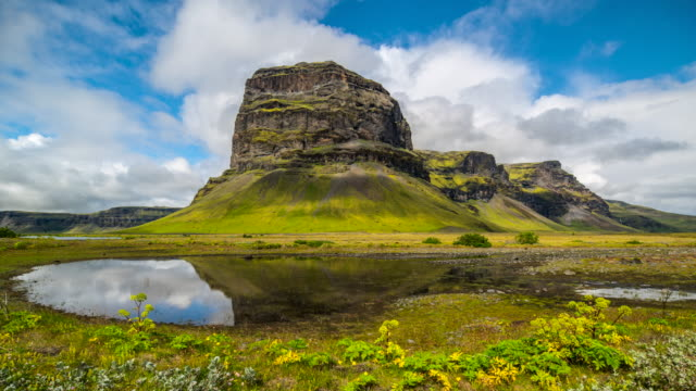 4k Timelapse of Dramatic cloudscape at Mountain Lomagnupur in Summer of Iceland