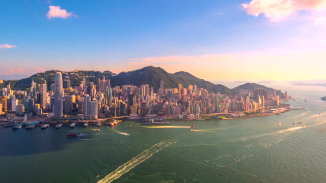 4k timelapse of hongkong cityscape view from aerial view, hongkong - 4k resolution stock videos & royalty-free footage