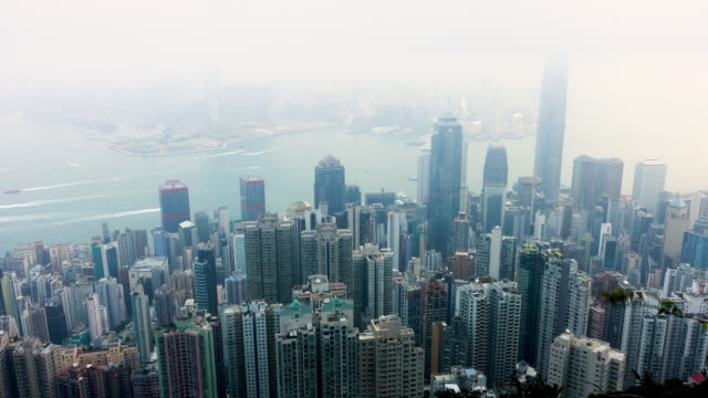 4k timelapse of hongkong,city scape and habor. - victoria peak stock videos & royalty-free footage