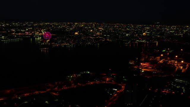 4k timelapse of night city skyline traffic at osaka japan