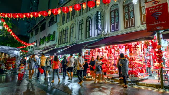 4 k ストリート、チャイナタウン、シンガポールの人々 のタイムラプスがある多くのお店やショッピングに歩いて観光。 - 中華街点の映像素材/bロール