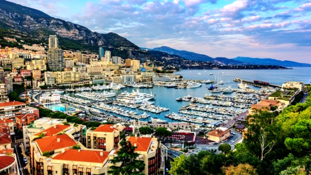 4k timelapse of port hercules on the sunset from day to night, port de hercule, marina, monte-carlo, monaco - monaco stock videos and b-roll footage