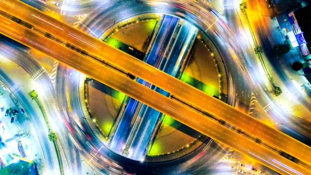 4k Timelapse or Hyperlapse of Highway traffic in Bangkok Thailand,aerial view
