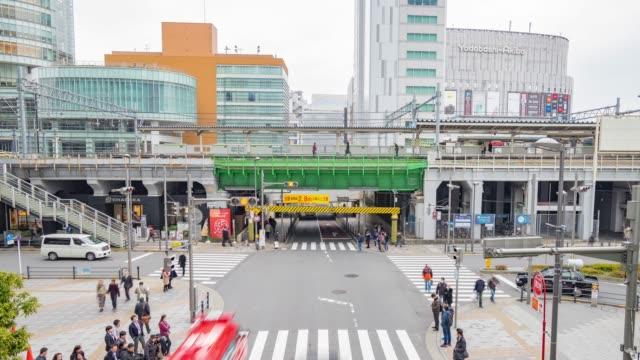 4 k time -lapse (低速度撮影):急いでいる乗客秋葉原駅の東京,日本
