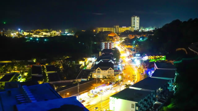 4k timelapse Phuket city at night
