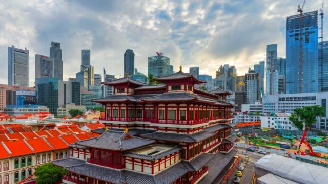 vídeos y material grabado en eventos de stock de 4 k timelapse amanecer escena de buda templo de la reliquia del diente de singapur - antigüedades