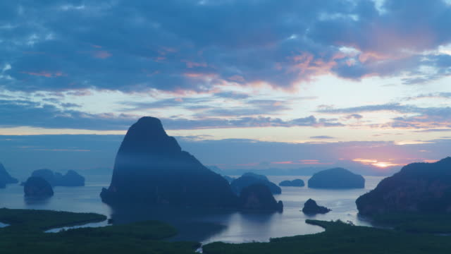 4k time-lapse sunrise, view point of island in the sea - phang nga bay stock videos and b-roll footage