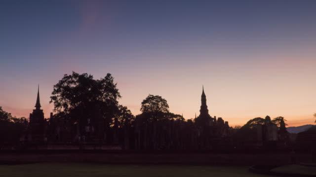 4k timelapse tilt down, Wat Mahathat Temple in sukhothai historical park in Thailand.