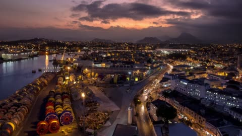 4k timelapse video - sunsets over busy docks - south america stock videos & royalty-free footage
