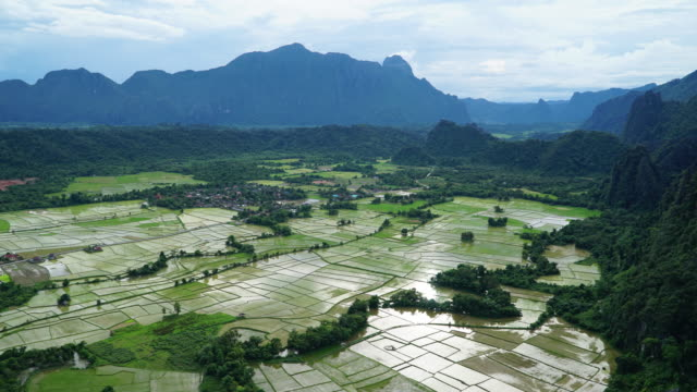 4k Time-lapse with dolly of rice paddy in Vang Vieng, Laos.