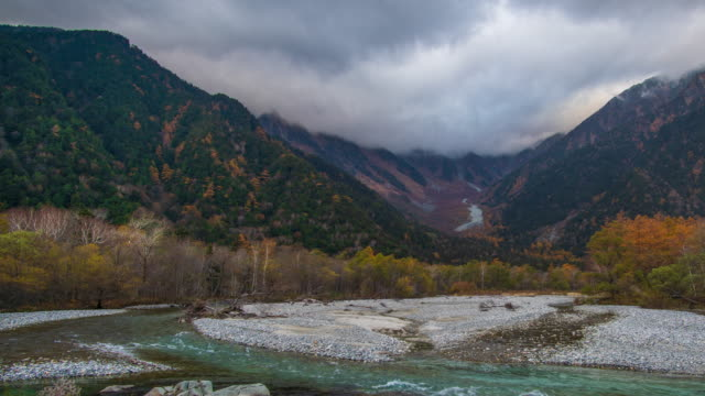 4k time-lapse with dolly right of kamikochi in autumn season, nagano, japan. - high dynamic range imaging stock videos and b-roll footage