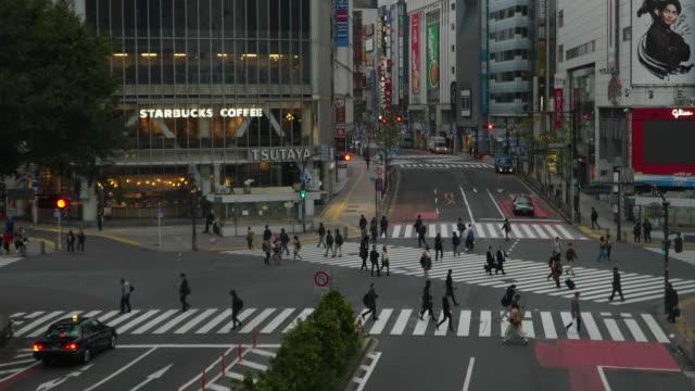 4k Time-lapse with medium shot  of Shibuya crossing in Tokyo, Japan.