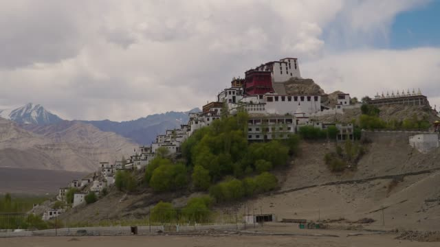 4k, timelapse, zoom out; Thiksey monastery in Leh Ladakh, India.