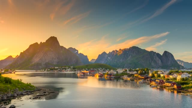 4k timelaspe Panning of  Moving clouds over traditional Norwegian fisherman's cabins, rorbuer, on the island of Hamnoy, Reine, Lofoten islands, Summer of Norway.