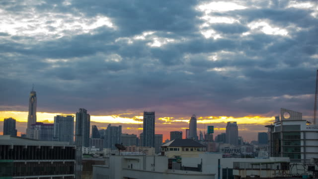 4k tl : cityscape in sunrise, bangkok - circa 5th century stock videos & royalty-free footage
