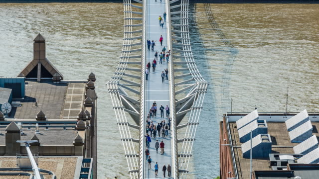 4k TL People on Millenium bridge over river Thames, London