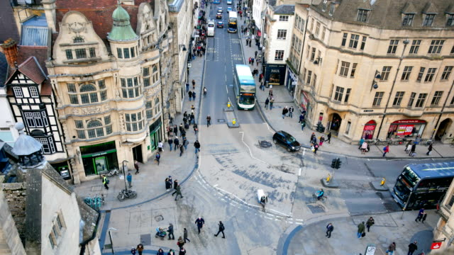4k top view of the city of oxford, england, uk time lapse - english culture stock videos & royalty-free footage