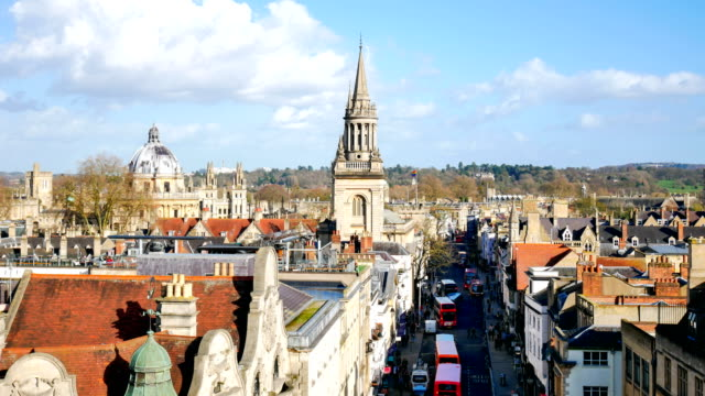 4k top view of the city of oxford, england, uk time lapse - oxfordshire stock videos & royalty-free footage