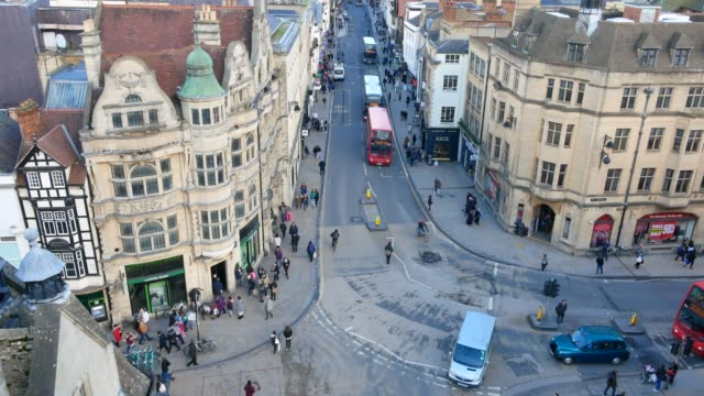 4k top view of the city of oxford, england, uk time lapse - oxford oxfordshire stock videos & royalty-free footage