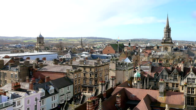 4k top view of the city of oxford, england, uk time lapse - oxford england stock videos and b-roll footage