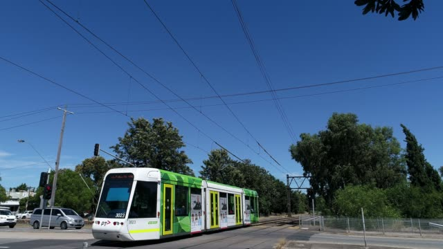 4k tram crossing melbourne, australia - tram point of view stock videos and b-roll footage