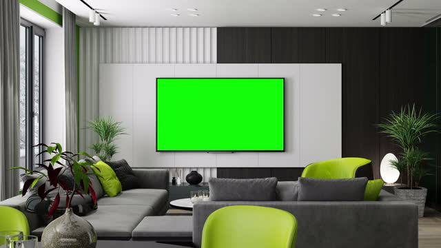 4k tv screen with chroma key green color. modern minimalist apartment interior. living room with kitchen and dining room. winter scene. - living room stock videos & royalty-free footage