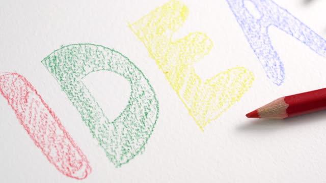 4 k UHD schuifregelaar schot van kleur potlood met idee concept