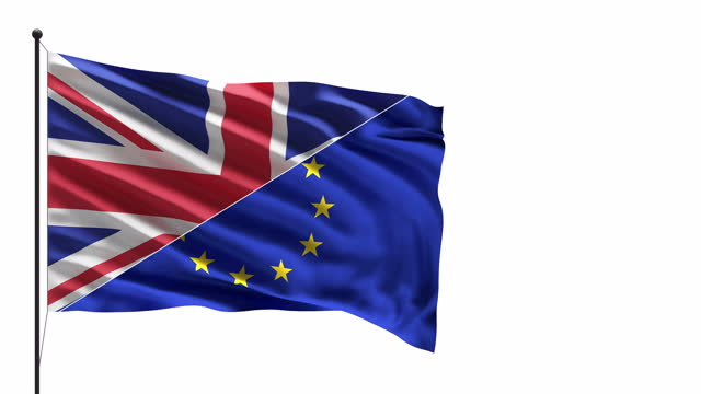 4k uk and eu flags in the wind on a mast concept - british royalty stock videos & royalty-free footage