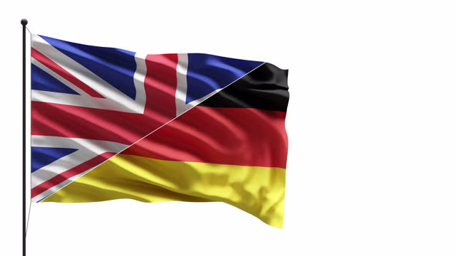 4k uk and germany flags in the wind on a mast concept - british royalty stock videos & royalty-free footage