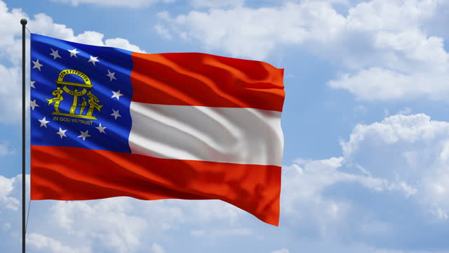 4k us georgia flag in the wind on a mast concept - georgia us state stock videos & royalty-free footage