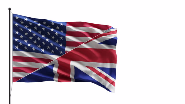 4k usa and uk flags in the wind on a mast concept - british royalty stock videos & royalty-free footage