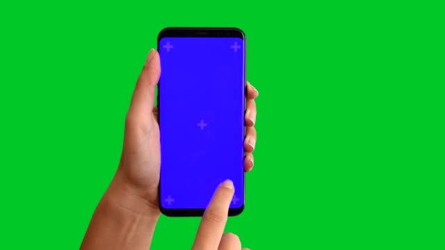 4k using smart phone displaying chroma key blue screen 3 - chroma key stock videos & royalty-free footage