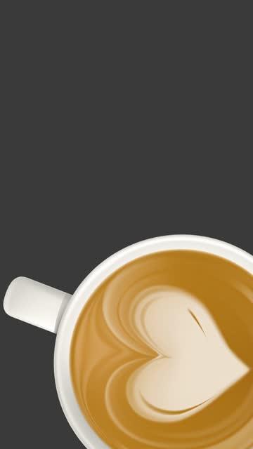ラテアートハートの背景ストックビデオ付き4k vertical coffee cupソーシャルメディアのストーリーや投稿に適した - コピースペース - カプチーノ点の映像素材/bロール