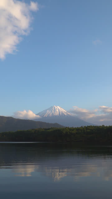 4k vertical: Mt Fujisan in the sunset time at lake Saiko, Yamanashi, Japan.